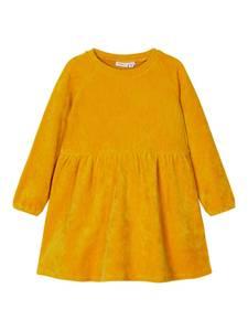 Bilde av Name it, Nmfrie gul ribbet velour kjole